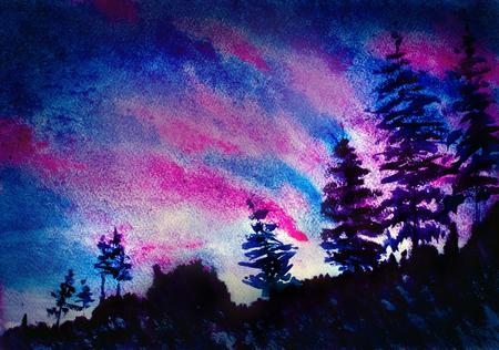 purple sunset: purple sunset mountains and trees Stock Photo