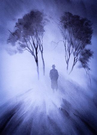 single man leaving in a fog...