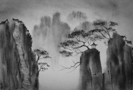 Chinese bergen en het klooster aan de top Stockfoto
