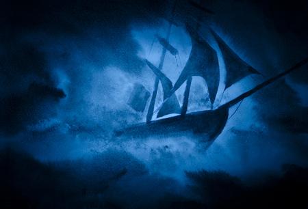 bateau voile: forte tempête de la mer et le navire