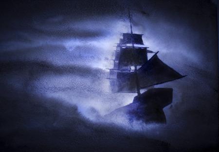 varend schip in een zware storm