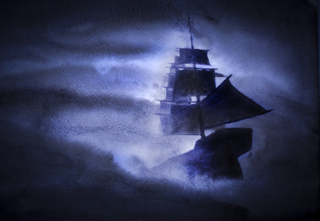 sailing ship in a strong storm