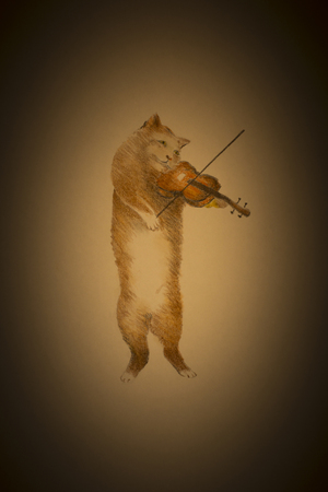 violin player: sad red cat playing the violin