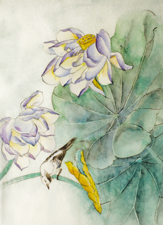 dessin fleur: fleur de lotus et petit oiseau
