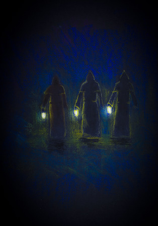 character assassination: three medieval monk with lamps