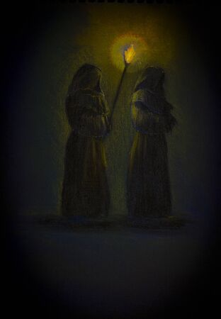 cassock: two medieval monk with a torch Stock Photo