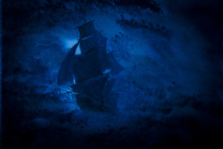 sailing ship in a storm Stock Photo
