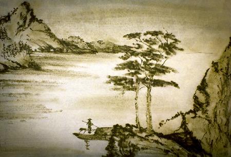 中国山川と漁師 写真素材