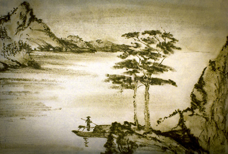 Chinese mountain river and fisherman Banque d'images