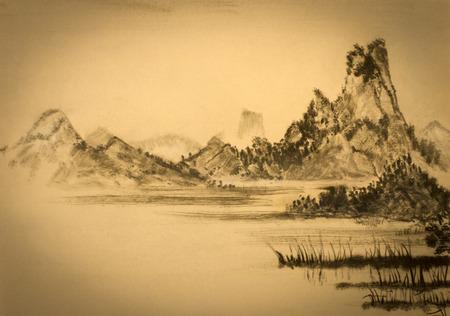 Pittura cinese di montagne e nuvole Archivio Fotografico - 53019517
