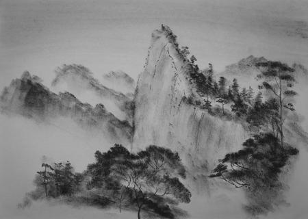 중국어 산 소나무와 구름