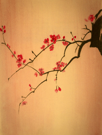 sumi e: bright cherry branch on a yellow background Stock Photo