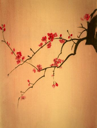 fleur de cerisier: lumineux branche de cerisier sur fond jaune Banque d'images