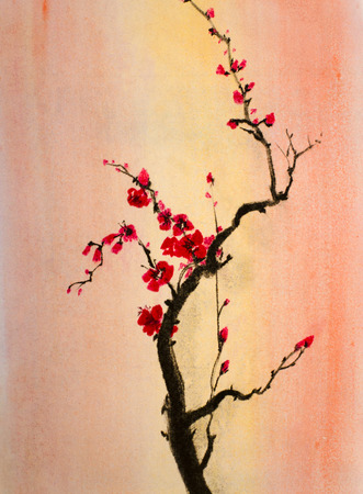 sumi e: bright and blooming cherry branch