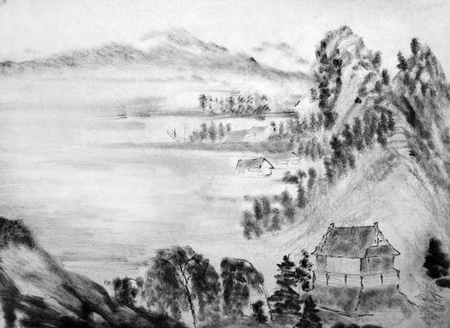 east river: Chinese mountains and fishing huts