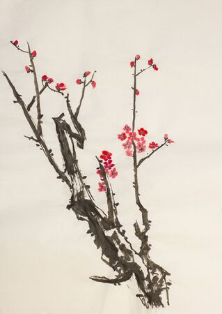 blooming: beautiful and blooming twig of plum