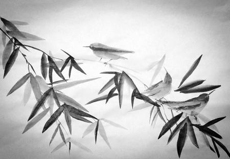 sumi e: bamboo branch and three little birds