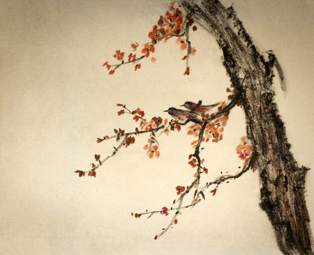 梅の枝に 2 つの小さな鳥 写真素材