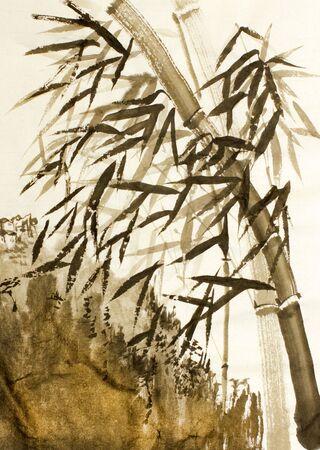 중국 대나무 나무와 산 스톡 콘텐츠