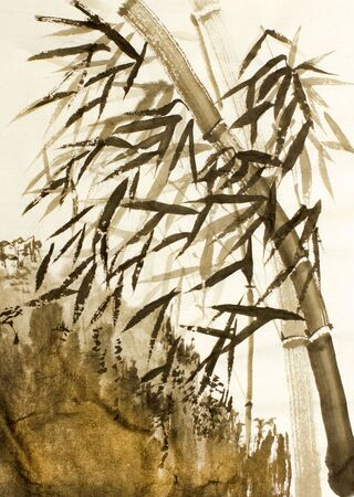 sumi e: Chinese bamboo trees and mountains Stock Photo