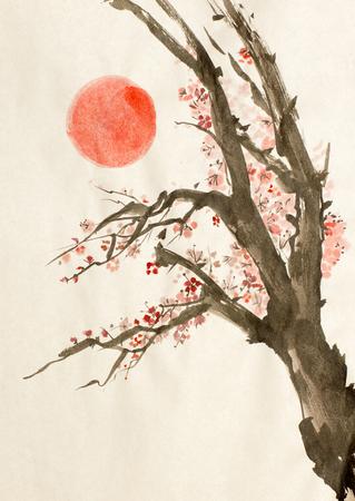 bloeiende pruimenboom en de rode zon