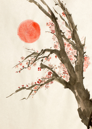 flowering plum tree and the red sun Banque d'images