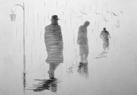 Drie mannen die in de afstand in de regen