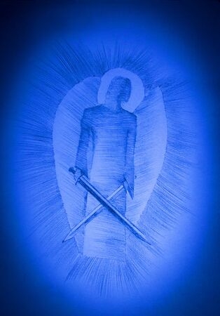 warlike: light angel with two swords