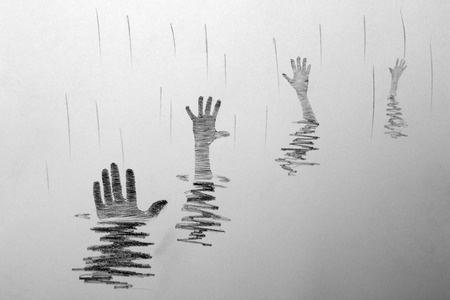 hand drown: four hands sticking out of the water Stock Photo