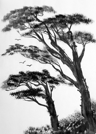 china watercolor paint: Two pine trees on a light background