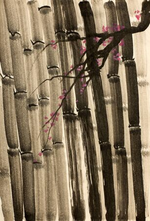 restful: bamboo forest and a branch of plum