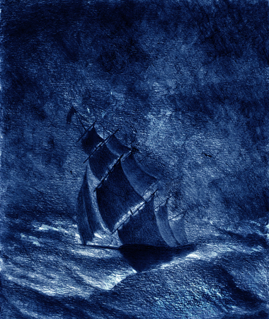ship storm: sailing ship in a great storm