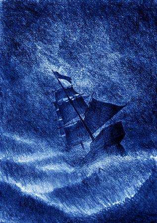 ship storm: sailing ship and a violent storm