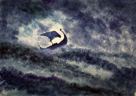 drakkar: Viking ship in a great storm Stock Photo