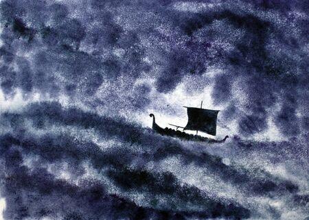 drakkar: Viking ship and a night storm