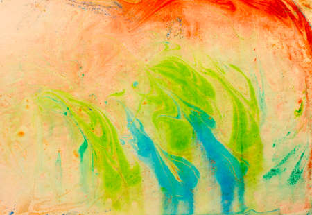 blue tone: bright green abstract painting in blue tone