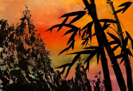 대나무 산 소나무와 일몰