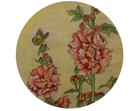 china watercolor paint: Flowers and butterflies painted in the style of Gunba