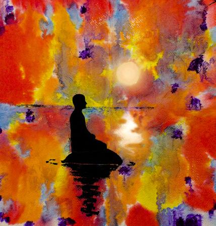 抽象的な背景の蓮華座の男のシルエット