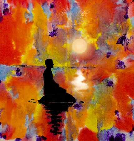 meditative: silhouette of a man in the lotus position on an abstract background Stock Photo