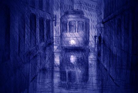 tramway on narrow city streets and summer rain