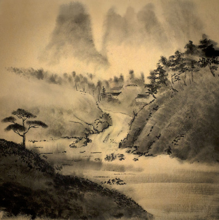 east river: medieval Chinese painting with mountains and river