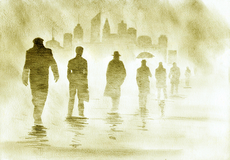 metropolis businessmen and urban smog