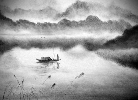 Chinese bergen en visser op een boot Stockfoto - 60863761
