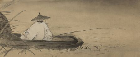 taoist: Chinese fishermen in the boat and reeds