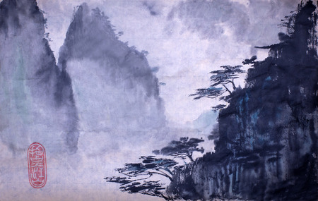 Mountains and pines on the crest of the cliff