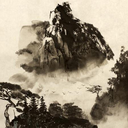 中国山と霧鳥 写真素材