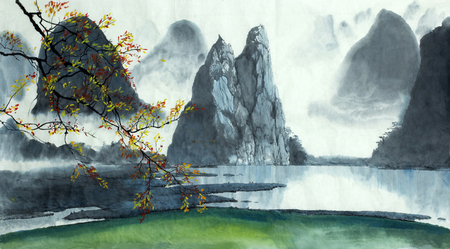 on top of the world: Chinese mountains, fog, autumn and lake