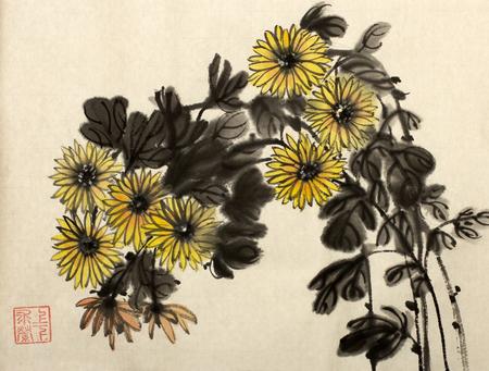中国風に描かれた黄色の菊の枝 写真素材