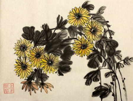 branch of yellow chrysanthemums painted in Chinese style Stock Photo - 68136953